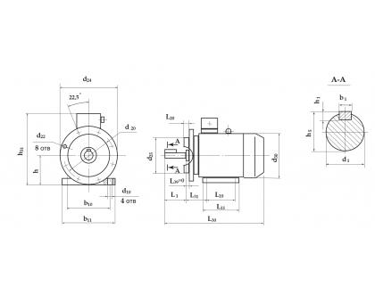 Электродвигатель АД 200 L2 45 кВт. 3000 об/мин производитель Сибэлектромотор