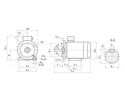 Электродвигатель АД 71 А6 0,37 кВт. 1000 об/мин производитель Сибэлектромотор
